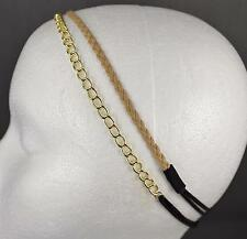 Gold chain link headband Lt Brown faux leather braid thin skinny narrow 2 pack