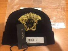 VERSACE 100% Cashmere Black Knitted Beanie Hat with Gold Medusa Embroidery  M, L