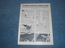 1973 BMW 2002tii Polak Modified Turbocharged Info Article 2002