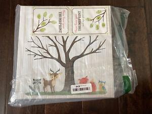Woodland Forest Animal Fingerprint Tree Canvas 12x12 Thumbprint Tree Baby Shower