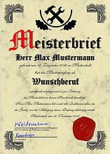 Meisterbrief Diplom Meisterurkunde Meisterdiplom Meistertitel Urkunde - UK-10166
