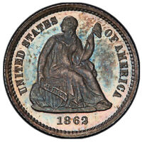 1862 Seated Liberty Half-Dime PCGS PROOF 65 Gold Seal TrueView / Looks Cameo
