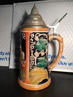 Vintage Reinhold Meskelback Beer Stein 1970s With Lid