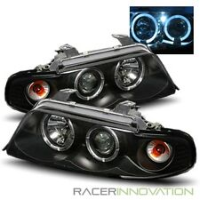 For 96-99 Audi A4/S4 (Halogen Type) Angel Eye Halo Projector Headlights Black