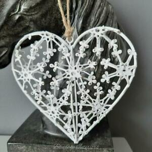 Shabby Chic Filigree White Distressed Hanging Heart