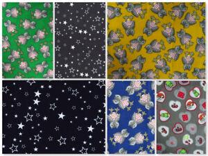 Cotton Baby Needlecord Corduroy Soft Winter Fabric Navy Owls Stars Elf Nightsky