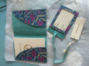 ANTHROPOLOGIE Teal Leather Passport case and matching luggage tag