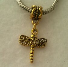 Gold Tone Dragonfly Butterfly Dangle Bead for European Bracelet Or Clip On Charm