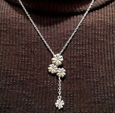 Lucky Clover Dangle  Pendant & Link Chain Necklace 925 Silver 18""