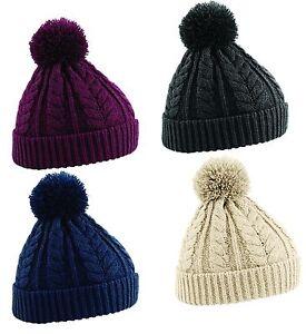 Women Ladies Cable Knit Snowstar Beanie Hat