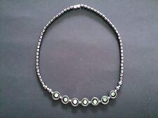Hematite & Green Cats Eye Necklace - looks stunning on!