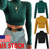 Women Turtleneck T Shirts knit Ladies Stretch Crop Tops Pullovers Blouse Sweater
