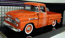 Motormax 1/24 Scale 1958 Chevy Apache Fleetside Pickup Orange Diecast model car