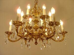 "12 LIGHT BRASS CRYSTAL CHANDELIER CRYSTAL CEILING LAMP BRASS FOYER Ø 28"""