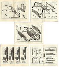 Stampa antica TELAI TESSITURA CALZE 5 FOGLI Enciclopedia Diderot 1783 Old print