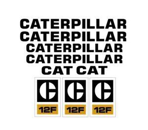 Caterpillar 12F Motor Grader Decal Set Tractor Stickers 3M Vinyl Road CAT 12 F