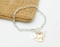 """925 Sterling Silver Rose Vermeil Love Hope Peace Charms Rolo Chain Bracelet 7.5"""""""