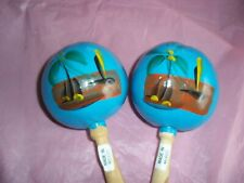 Blue Seed Pod Percussion Shaker Maraca Musical Instruments, Mexican