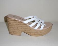 Athena Alexander Women's White Leather Cork Platform Sandal – Sz 9