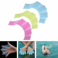 Silicone Hand Flippers Finger Webbed Paddle Gloves Fins Training Swimming Tools