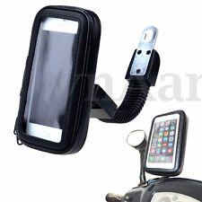 Bendable Arm Waterproof Motorcycle Motor Bike Rear Mirror Phone Holder Bag Case