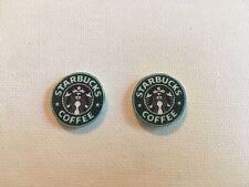 Starbucks Coffee Logo Earrings Handmade Plastic Metal Post Stud Frappuccino Java