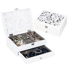 White Wooden Jewellery Box Jewelry  Organiser Present Gift Christmas