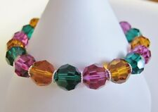 Multi Colour Bracelet  made with Swarovski, Sterling Silver, Pewter Heart Clasp