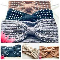 Women's Diamante Knitted Ear Warmer Knot Knit Headband Crochet Turban Bow Hat