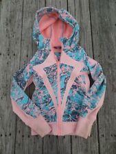 Ivivva Lululemon ~ Girls Aqua and Peach Hooded Sweatshirt Jacket ~ Size 8