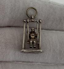 On Swing Pendant/Charm, 925 Solid Silver Vintage Nouveau Lady