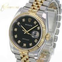 Rolex Mens Datejust 116233 Factory Black  Diamond Dial Fluted Bezel 36mm Watch