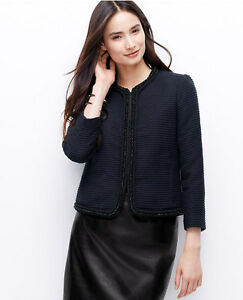 Ann Taylor - Size 2 (XS) Blue Beaded Rope Trim Textured Jacket $189.00 NWT (H)