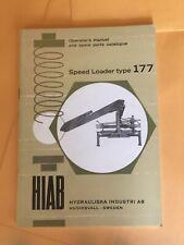 Hiab 177 Speed Loader Crane Operators Parts Manual Book Lift Elephant