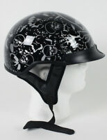 Black Skull Boneyard DOT Shorty Half Motorcycle Helmet XS - 2XL