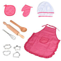 Kids Cooking And Baking Set - 11pcs Kitchen Costume Role Play Kits Apron Hat