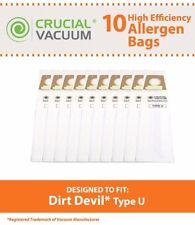 10 Replacements Dirt Devil Type U Bags Part # 3920750001 3920047001 3920048001