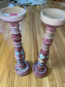 "PIER 1 IMPORTS 20.5"" TALL SET OF WOODEN PILLAR CANDLE HOLDERS PINK BLUE GREEN"