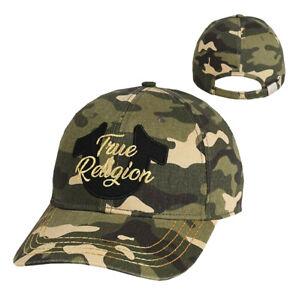 True Religion Men's Metallic Script Camo Logo Baseball Cap Sports Strapback Hat