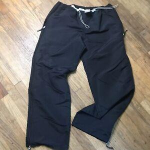 Nike Black Ski Pants Womens XL (16-18) Side Zip Pockets Nylon Drawstring