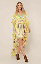 NWT Hale Bob Hi-Low Yellow Embellished 100% Silk Kaftan V-neck dress size M