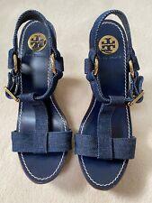 TORY BURCH Denim Jean Wedge Platform Sandals Gold Buckle Hardware Size 9.5 New