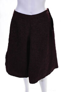 Theory Womens Zip Up Textured Flare Shorts Burgundy Size 8