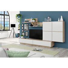 Mueble de comedor salon, mueble moderno, color Blanco Brillo y Gris Ceniza, Lue