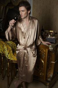 NWT Pure 19MM Silk Men Sleepwear Kimono Robe 8121