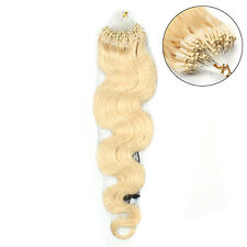 2017 20Inch Remy Wavy&curly Loop Micro Rings Beads Tipped Human Hair Extensions