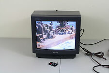 "Sony Trinitron KV13TR14 Small 13"" CRT Tube Vintage Retro Color TV Remote"