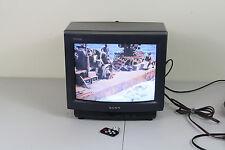 "Sony Trinitron KV13TR14 Small 13"" CRT Tube Vintage Retro Color TV Remote"