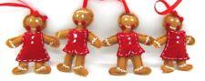 Handmade lot of 4 Felt Christmas Ornament Dolls Gingerbread Man & Woman 2 Sets
