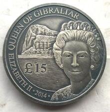 Gibraltar 2014 Queen 15 Pounds 1oz Silver Coin,Antique finish